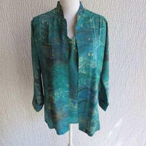 Silk Top Shirt 2pc M Blue Marbled Swirl Made USA M